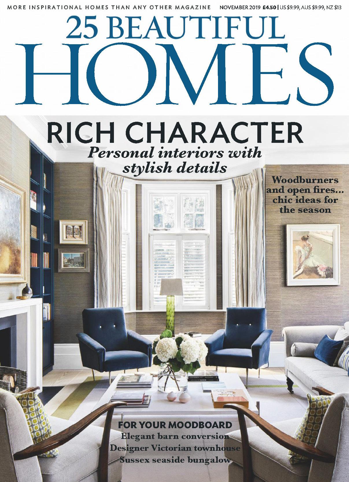 《25 Beautiful Homes》英国版时尚家居设计杂志2019年11月号