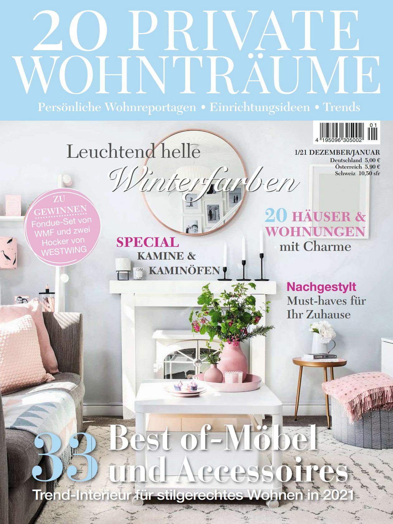 《20 Private Wohntraume》德国版室内室外设计杂志2020年12月-2021年01月号